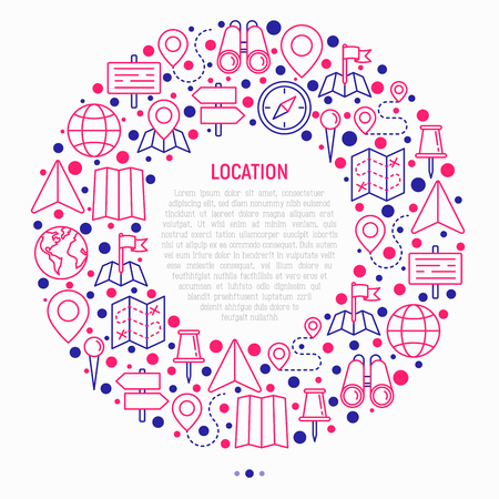 Location concept in circle with thin line icons: pin, pointer, direction, route, compass, wall needle, cursor, navigation, gps, binoculars. Modern vector illustration for banner, print media.
