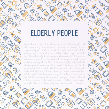 Elderly people concept with thin line icons: grandmother, grandfather, glasses, slippers, knitting, rocking chair, hearing aid, flowers, reading, false jaw, chess. Vector illustration. Vettoriali