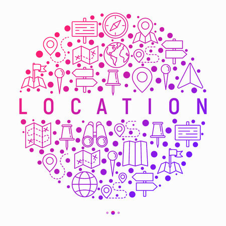 Location concept in circle with thin line icons: pin, pointer, direction, route, compass, wall needle, cursor, navigation, gps, binoculars. Modern vector illustration for banner, web page, print media Vectores