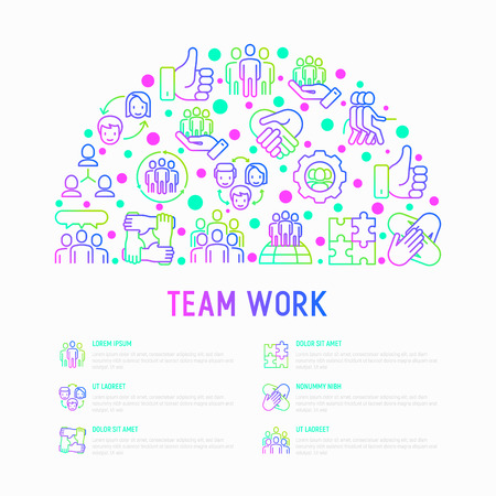Teamwork concept in half circle with thin line icons: group of people, mutual assistance, meeting, handshake, tug-of-war, cooperation, puzzle, team spirit, cooperation. Vector illustration for banner. Illustration