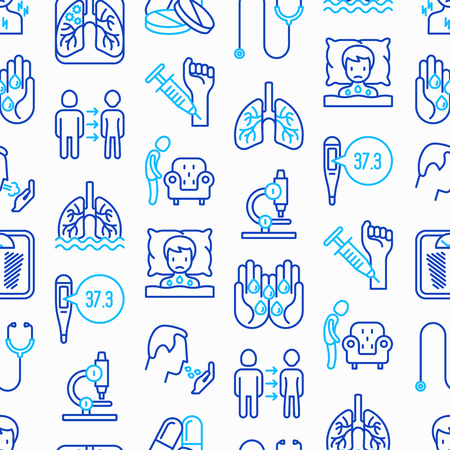 Tuberculosis seamless pattern with thin line icons: infection in lungs, x-ray image, dry cough, pain in chest and shoulders, Mantoux test, weight loss. Modern vector illustration.