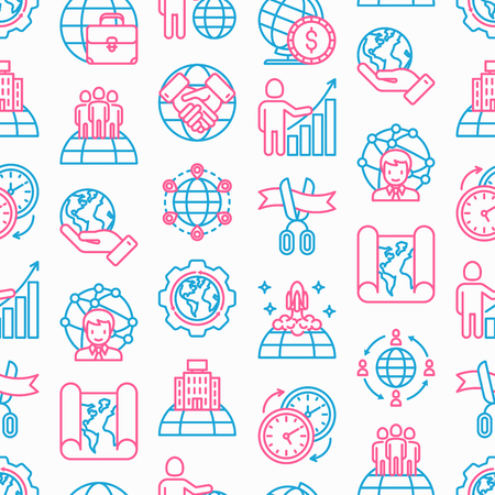 Global business seamless pattern with thin line icons: investment, outsourcing, agreement, transactions, time zone, headquarter, start up, opening ceremony. Modern vector illustration.