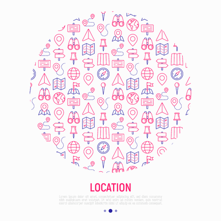 Location concept in circle with thin line icons: pin, pointer, direction, route, compass, wall needle, cursor, navigation, gps, binoculars. Vector illustration for banner, web page, print media. Illustration