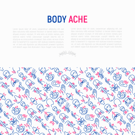 Body aches concept with thin line icons: migraine, toothache, pain in eyes, ear, nose, when urinating, chest pain, menstrual, joint, arthritis, rheumatism. Vector illustration for banner, print media. Stock Illustratie