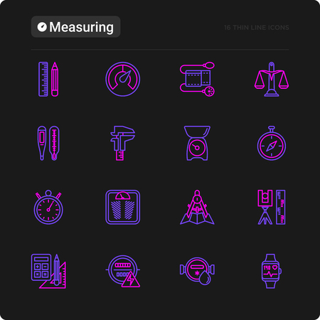 Measuring thin line icons set: stopwatch, weight scales, speedometer, smart watch, brass scales, thermometer. Modern vector illustration for black theme.