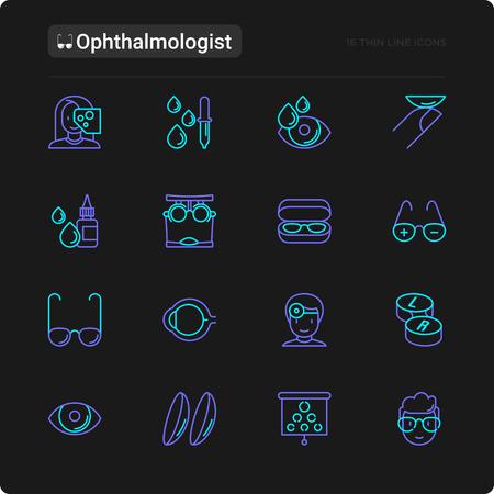 Ophthalmologist thin line icons set: glasses, eyeball, vision exam, lenses, eyedropper, spectacle case. Modern vector illustration for black theme.