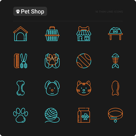 Pet shop thin line icons set: cat, dog, collar, kennel, grooming, food, toys. Modern vector illustration for black theme.