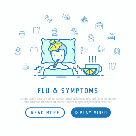 Flu and symptoms concept: man with temperature and chills in bed, tea with lemon nearby. Modern vector illustration, web page template.