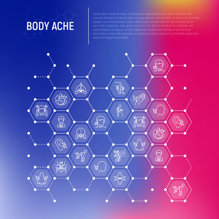 Body aches concept in honeycombs with thin line icons: migraine, toothache, pain in eyes, ear, nose, when urinating, chest pain, menstrual, joint, arthritis, rheumatism. Modern vector illustration.