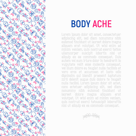 Body aches concept with thin line icons: migraine, toothache, pain in eyes, ear, nose, when urinating, chest pain, menstrual, joint, arthritis, rheumatism. Modern vector illustration for banner.