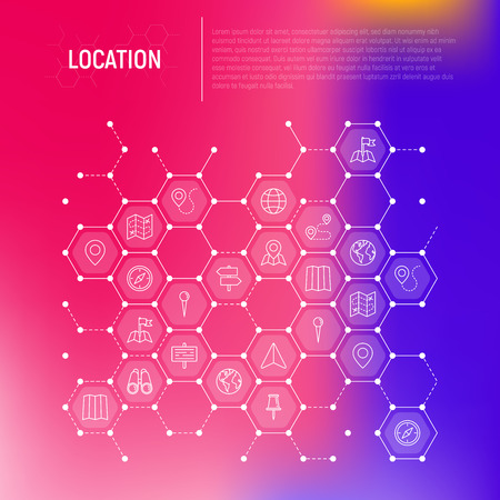Location concept in honeycombs with thin line icons: pin, pointer, direction, route, compass, wall needle, cursor, navigation, gps, binoculars. Modern vector illustration for banner, print media. Illustration