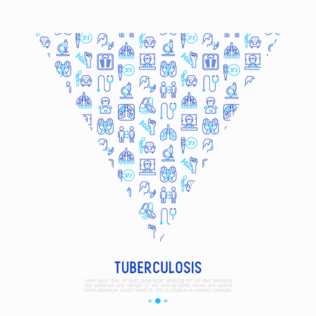 Tuberculosis concept in triangle with thin line icons: infection in lungs, x-ray image, dry cough, pain in chest and shoulders, Mantoux test, weight loss. Vector illustration for banner, print media.