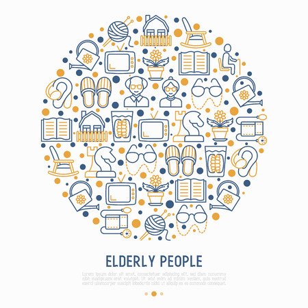Elderly people concept in circle with thin line icons: grandmother, grandfather, glasses, slippers, knitting, rocking chair, hearing aid, flowers, reading, false jaw, chess. Vector illustration.