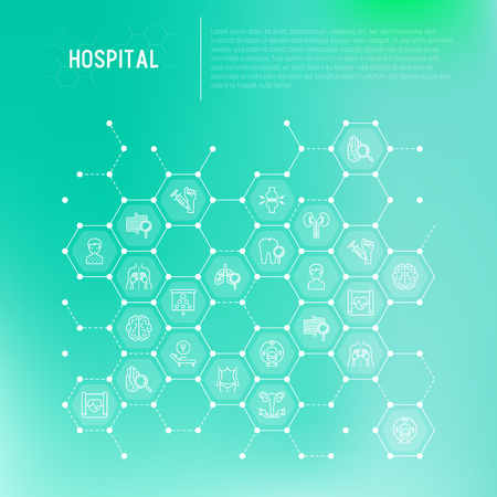 Hospital concept in honeycombs with thin line icons for doctors notation: neurologist, gastroenterologist, manual therapy, ophtalmologist, cardiology, allergist, dermatologist. Vector illustration.