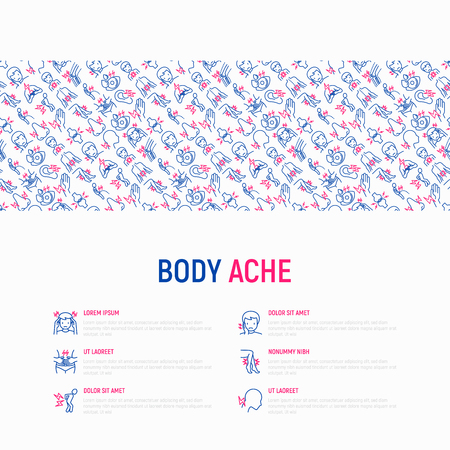 Body aches concept with thin line icons: migraine, toothache, pain in eyes, ear, nose, when urinating, chest pain, menstrual, joint, arthritis, rheumatism. Vector illustration, web page template. Stock Vector - 110264789