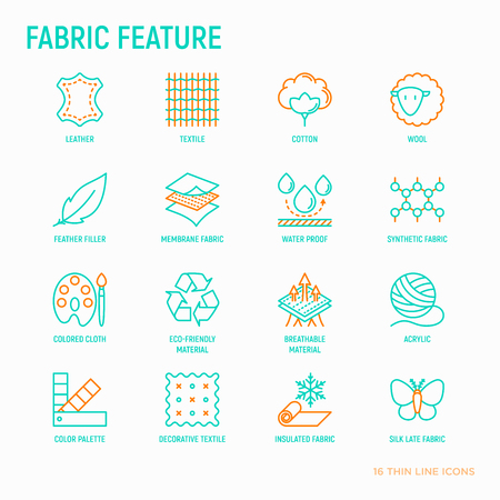 Fabric feature thin line icons set: leather, textile, cotton, wool, waterproof, acrylic, silk, eco-friendly material, breathable material. Modern vector illustration.
