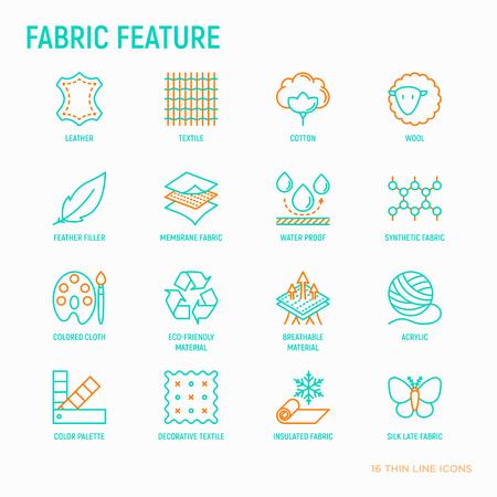 Tkanina posiada zestaw ikon cienkich linii: skóra, tekstylia, bawełna, wełna, wodoodporność, akryl, jedwab, ekologiczny materiał, oddychający materiał. Ilustracja wektorowa nowoczesne.