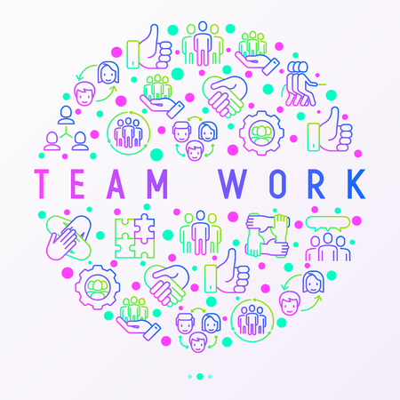 Teamwork concept in circle with thin line icons: group of people, mutual assistance, meeting, handshake, tug-of-war, cooperation, puzzle, team spirit, cooperation. Modern vector illustration. Vetores