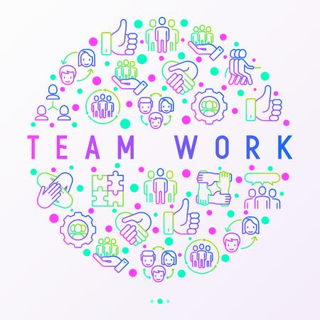 Teamwork-Konzept im Kreis mit dünnen Linien-Symbolen: Personengruppe, gegenseitige Unterstützung, Treffen, Händedruck, Tauziehen, Kooperation, Rätsel, Teamgeist, Kooperation. Moderne Vektorillustration. Vektorgrafik