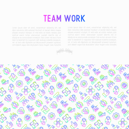 Teamwork concept with thin line icons: group of people, mutual assistance, meeting, handshake, tug-of-war, cooperation, puzzle, team spirit, cooperation. Modern vector illustration for print media.