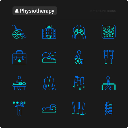 Physiotherapy thin line icons set: rehabilitation, physiotherapist, acupuncture, massage, go-carts, vertebrae; x-ray, trauma. Vector illustration for black theme.