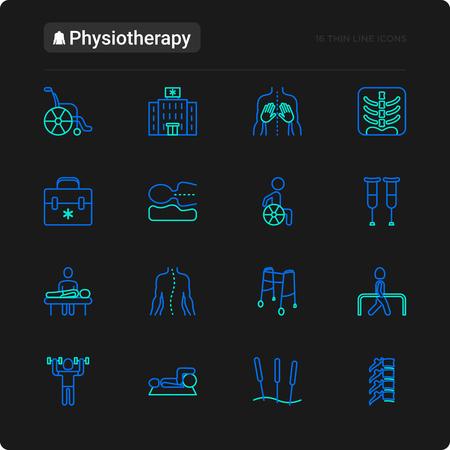 Zestaw ikon cienka linia fizjoterapii: rehabilitacja, fizjoterapeuta, akupunktura, masaż, gokarty, kręgi; prześwietlenie, uraz. Ilustracja wektorowa na czarny motyw. Ilustracje wektorowe