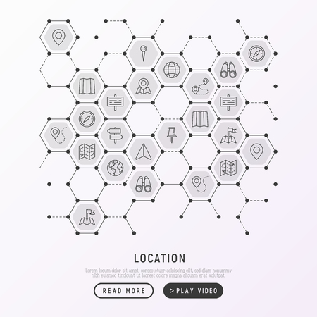 Location concept in honeycombs with thin line icons: pin, pointer, direction, route, compass, wall needle, cursor, navigation, gps, binoculars. Modern vector illustration for banner, print media.