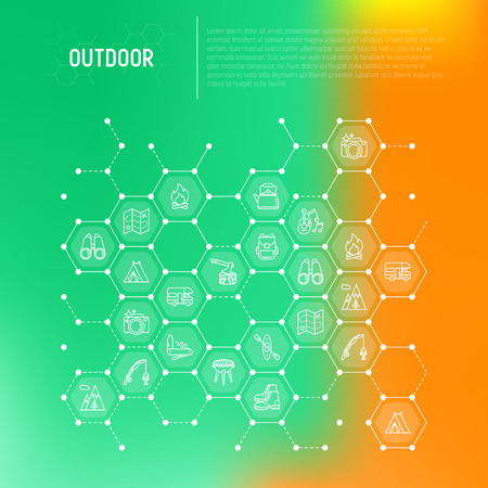 Outdoor concept in honeycombs with thin line icons: mountains, backpack, uncle boots, kettle, axe, map, swiss knife, canoe, camera, fishing rod, binoculars. Modern vector illustration for print media. Illustration