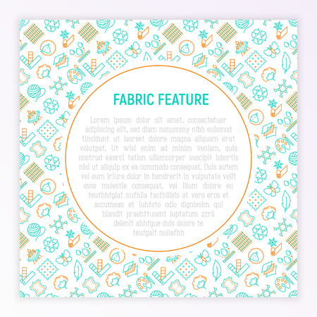 Fabric feature concept with thin line icons: leather, textile, cotton, wool, waterproof, acrylic, silk, eco-friendly material, breathable material. Modern vector illustration for banner, print media. Ilustração