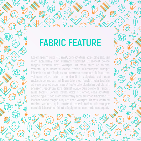 Fabric feature concept with thin line icons: leather, textile, cotton, wool, waterproof, acrylic, silk, eco-friendly material, breathable material. Modern vector illustration for banner, print media. Illustration