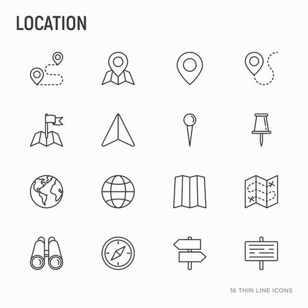 Ensemble d'icônes de ligne mince d'emplacement: épingle, pointeur, direction, itinéraire, boussole, aiguille murale, curseur, navigation, gps, jumelles. Illustration vectorielle moderne. Vecteurs