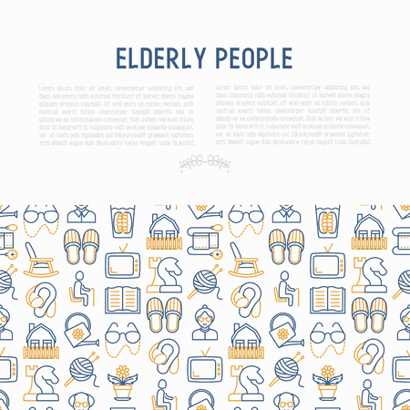 Elderly people concept with thin line icons: grandmother, grandfather, glasses, slippers, knitting, rocking chair, hearing aid, flowers, reading, false jaw, chess. Modern vector illustration.