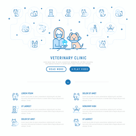 Veterinary clinic concept: doctor and dog in protective collar. Thin line icons: injection, cardiology, cleaning of ears, teeth, shearing claws, broken leg. Vector illustration, web page template. Stock Illustratie