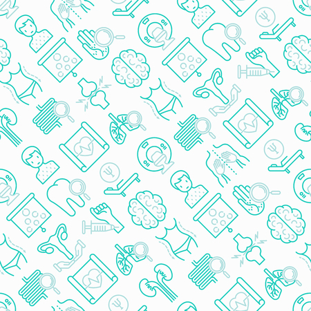 Hospital seamless pattern with thin line icons for doctors notation: neurologist, gastroenterologist, manual therapy, ophtalmologist, cardiology, allergist, dermatologist. Vector illustration.