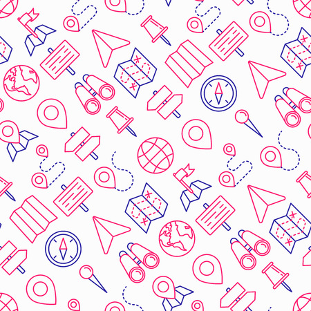 Location seamless pattern with thin line icons: pin, pointer, direction, route, compass, wall needle, cursor, navigation, gps, binoculars. Modern vector illustration.