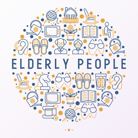 Elderly people concept in circle with thin line icons: grandmother, grandfather, glasses, slippers, knitting, rocking chair, hearing aid, flowers, reading, false jaw. Modern vector illustration.