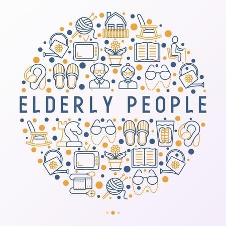 Ouderen concept in cirkel met dunne lijn pictogrammen: grootmoeder, grootvader, bril, slippers, breien, schommelstoel, gehoorapparaat, bloemen, lezen, valse kaak. Moderne vector illustratie.
