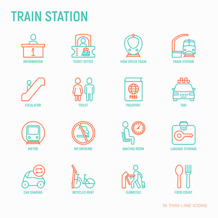 Train station thin line icons set: information, ticket office, toilet, taxi, metro, waiting room, luggage storage, turnstile, food court, no smoking, bicycles rent. Modern vector illustration.