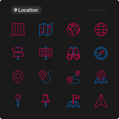 Location thin line icons set: pin, pointer, direction, route, compass, wall needle, cursor, navigation, gps, binoculars. Modern vector illustration for black theme. Reklamní fotografie - 110042059