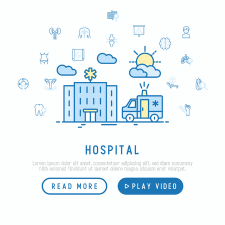 Hospital and ambulance concept with thin line icons for doctor's notation: neurologist, gastroenterologist, manual therapy, ophtalmologist, cardiology. Vector illustration, web page template.