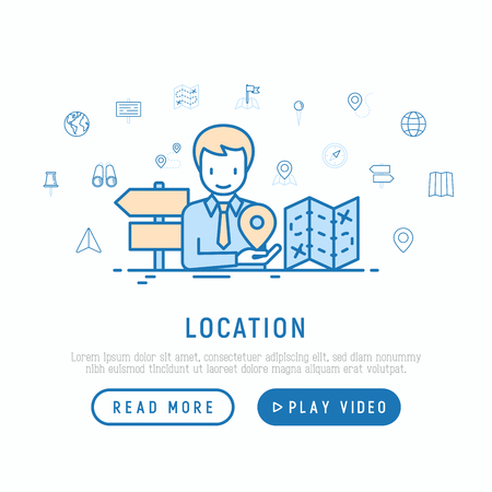 Location concept: man is looking for right direction. Thin line icons: pin, pointer, route, compass, wall needle, cursor, navigation, gps, binoculars. Modern vector illustration, web page template. Ilustração