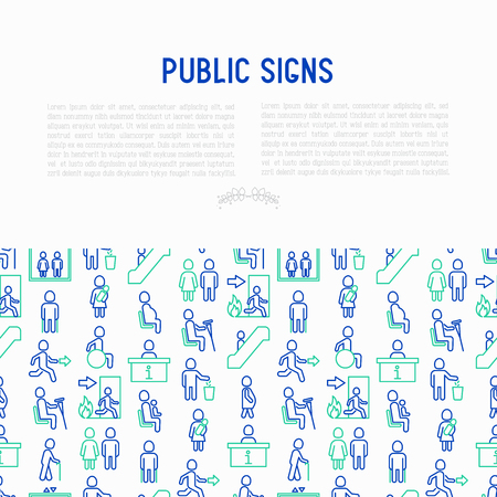 Public signs concept thin line icons: information stand, fire or emergency exit, use trash can, seats for pregnant women, disabled, elderly people, woman with child, elevator, WC. Vector illustration.