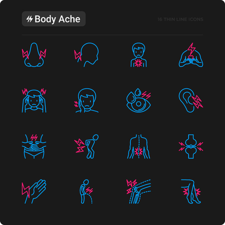 Body aches thin line icons set: migraine, toothache, pain in eyes, ear, nose, when urinating, chest pain, menstrual, joint, arthritis, rheumatism. Modern vector illustration for black theme.