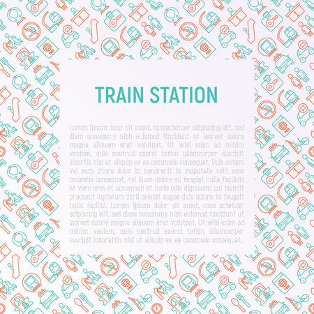 Train station concept with thin line icons: information, ticket office, toilet, taxi, metro, waiting room, luggage storage, turnstile, food court, no smoking, bicycles rent. Modern vector illustration.