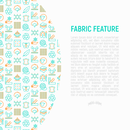 Fabric feature concept with thin line icons: leather, textile, cotton, wool, waterproof, acrylic, silk, eco-friendly material, breathable material. Modern vector illustration for banner, print media. Vetores