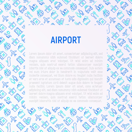 Airport concept with thin line icons: check-in counter, gates, boarding pass, escalator, toilet, food court, baggage claim, wrapping service, duty free, departures, arrivals. Vector illustration.
