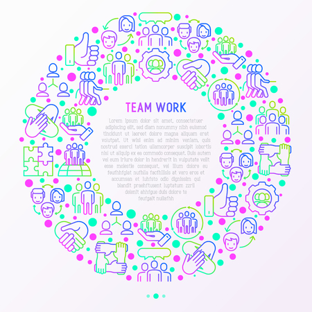 Teamwork concept in circle with thin line icons: group of people, mutual assistance, meeting, handshake, tug-of-war, cooperation, puzzle, team spirit, cooperation. Vector illustration for print media.