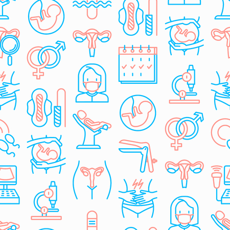 Modèle sans couture de gynécologue avec des icônes de fine ligne: utérus, ovaires, chaise gynécologique, grossesse, échographie, serviette hygiénique, test, embryon, menstruation, ovulation. Illustration vectorielle moderne.