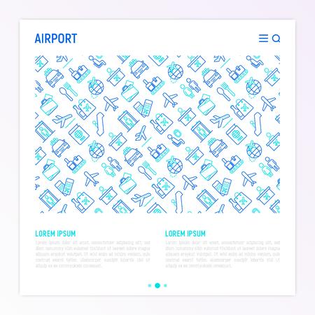 Concept d'aéroport avec des icônes de lignes fines: comptoir d'enregistrement, portes, carte d'embarquement, escalator, toilettes, aire de restauration, réclamation des bagages, service d'emballage, hors taxes, départs, arrivées, douanes. Illustration vectorielle pour les médias imprimés. Vecteurs
