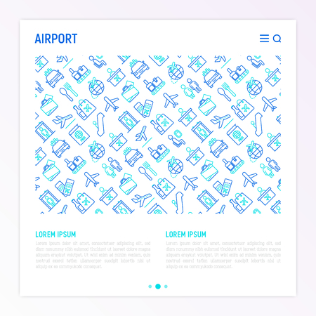 Airport concept with thin line icons: check-in counter, gates, boarding pass, escalator, toilet, food court, baggage claim, wrapping service, duty free, departures, arrivals, customs. Vector illustration for print media.
